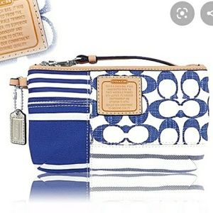 NWOT Coach Daisy Multi Denim Patchwork wristlet